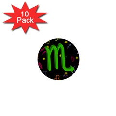 Scorpio Floating Zodiac Sign 1  Mini Buttons (10 Pack)  by theimagezone