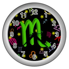 Scorpio Floating Zodiac Sign Wall Clocks (silver)  by theimagezone