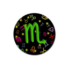 Scorpio Floating Zodiac Sign Magnet 3  (round) by theimagezone