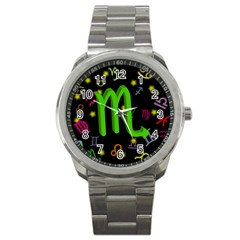 Scorpio Floating Zodiac Sign Sport Metal Watches by theimagezone