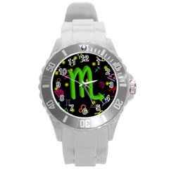 Scorpio Floating Zodiac Sign Round Plastic Sport Watch (l) by theimagezone