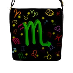 Scorpio Floating Zodiac Sign Flap Messenger Bag (l)  by theimagezone