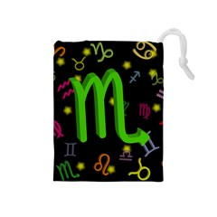 Scorpio Floating Zodiac Sign Drawstring Pouches (medium)  by theimagezone