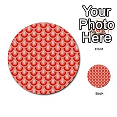 Awesome Retro Pattern Red Multi Purpose Cards (round)  by ImpressiveMoments