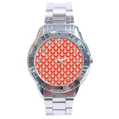 Awesome Retro Pattern Red Stainless Steel Men s Watch by ImpressiveMoments