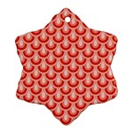 Awesome Retro Pattern Red Ornament (Snowflake)  Front