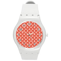 Awesome Retro Pattern Red Round Plastic Sport Watch (m) by ImpressiveMoments