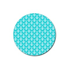 Awesome Retro Pattern Turquoise Rubber Coaster (Round)  by ImpressiveMoments