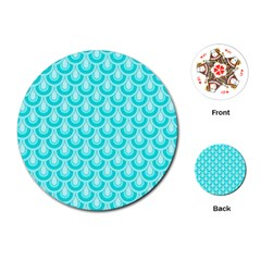 Awesome Retro Pattern Turquoise Playing Cards (round)  by ImpressiveMoments