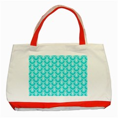 Awesome Retro Pattern Turquoise Classic Tote Bag (red)  by ImpressiveMoments