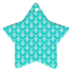 Awesome Retro Pattern Turquoise Star Ornament (two Sides)  by ImpressiveMoments