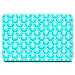 Awesome Retro Pattern Turquoise Large Doormat  by ImpressiveMoments
