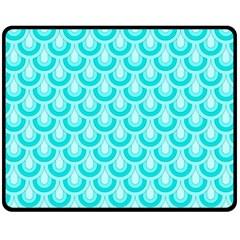 Awesome Retro Pattern Turquoise Fleece Blanket (medium)  by ImpressiveMoments