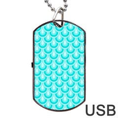 Awesome Retro Pattern Turquoise Dog Tag Usb Flash (one Side) by ImpressiveMoments