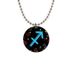 Sagittarius Floating Zodiac Sign Button Necklaces by theimagezone