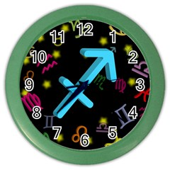 Sagittarius Floating Zodiac Sign Color Wall Clocks by theimagezone