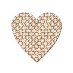Retro Mirror Pattern Brown Heart Magnet by ImpressiveMoments