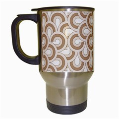 Retro Mirror Pattern Brown Travel Mugs (white) by ImpressiveMoments