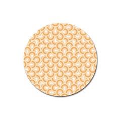 Retro Mirror Pattern Peach Magnet 3  (round) by ImpressiveMoments