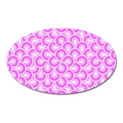 Retro Mirror Pattern Pink Oval Magnet by ImpressiveMoments