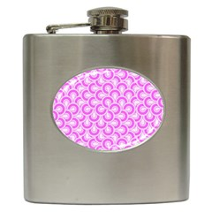 Retro Mirror Pattern Pink Hip Flask (6 Oz) by ImpressiveMoments