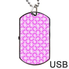 Retro Mirror Pattern Pink Dog Tag USB Flash (Two Sides)  by ImpressiveMoments