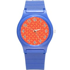 Retro Mirror Pattern Red Round Plastic Sport Watch (s) by ImpressiveMoments