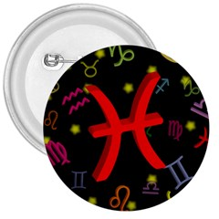 Pisces Floating Zodiac Sign 3  Buttons by theimagezone