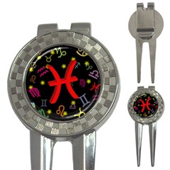 Pisces Floating Zodiac Sign 3 In 1 Golf Divots by theimagezone