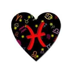 Pisces Floating Zodiac Sign Heart Magnet by theimagezone