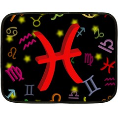 Pisces Floating Zodiac Sign Double Sided Fleece Blanket (mini)  by theimagezone