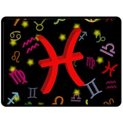 Pisces Floating Zodiac Sign Fleece Blanket (large)  by theimagezone
