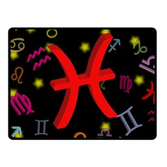 Pisces Floating Zodiac Sign Fleece Blanket (small) by theimagezone