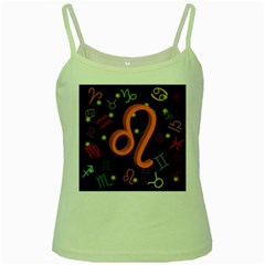 Leo Floating Zodiac Sign Green Spaghetti Tanks by theimagezone