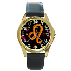Leo Floating Zodiac Sign Round Gold Metal Watches by theimagezone