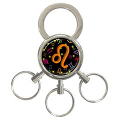 Leo Floating Zodiac Sign 3 Ring Key Chains by theimagezone
