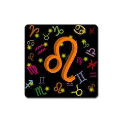 Leo Floating Zodiac Sign Square Magnet by theimagezone