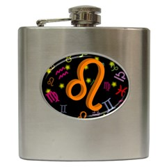Leo Floating Zodiac Sign Hip Flask (6 Oz) by theimagezone
