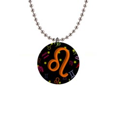 Leo Floating Zodiac Sign Button Necklaces by theimagezone