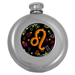 Leo Floating Zodiac Sign Round Hip Flask (5 Oz) by theimagezone