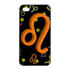 Leo Floating Zodiac Sign Apple Iphone 4/4s Seamless Case (black) by theimagezone