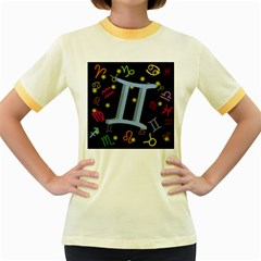Gemini Floating Zodiac Sign Women s Fitted Ringer T Shirts by theimagezone