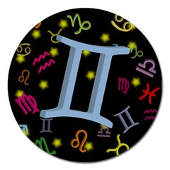 Gemini Floating Zodiac Sign Magnet 5  (round) by theimagezone