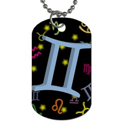 Gemini Floating Zodiac Sign Dog Tag (one Side) by theimagezone