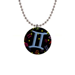 Gemini Floating Zodiac Sign Button Necklaces by theimagezone