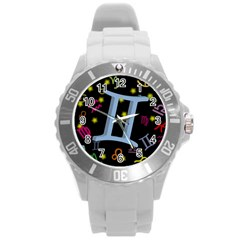 Gemini Floating Zodiac Sign Round Plastic Sport Watch (l) by theimagezone