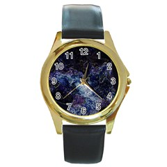 Space Like No 3 Round Gold Metal Watches by timelessartoncanvas