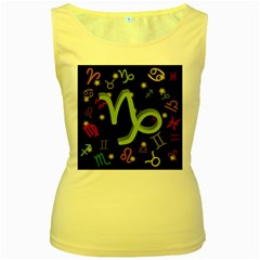 Capricorn Floating Zodiac Sign Women s Yellow Tank Tops by theimagezone