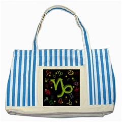 Capricorn Floating Zodiac Sign Striped Blue Tote Bag  by theimagezone