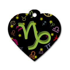 Capricorn Floating Zodiac Sign Dog Tag Heart (two Sides) by theimagezone